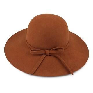 London - 100% Wool Felt Round Top Wide Brim Style Felt Hat Alpas - MF-028-RUBR