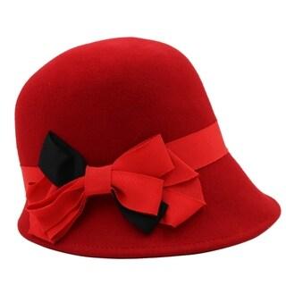 Jazzy - 100% Wool Felt Cloche Style Felt Hat Alpas - YY-045-RD