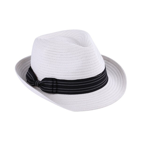 Shop Bruno - 80% Cotton and 20% Poly Woven Fabric Trilby Fedora Style Hat -  Free Shipping On Orders Over  45 - Overstock.com - 20743328 011cfc74a96