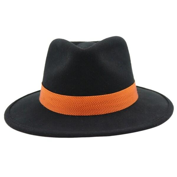 Shop Touhy - 100% Wool Felt Modern-day Stiff Brim Fedora Style Hat ... d6c37486df3