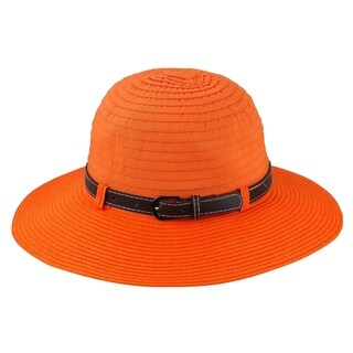 - 50% Paper Straw 50% Polyester Woven Fabric Sunbonnet Style Sun Hat Sun Styles - AH-033-6-OR