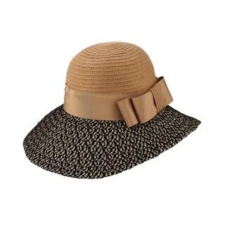 Caroline - 20 % Nylon 80% Cotton Woven Fabric Cloche Style Sun Hat Sun Styles - AH-036-3-BR/BK