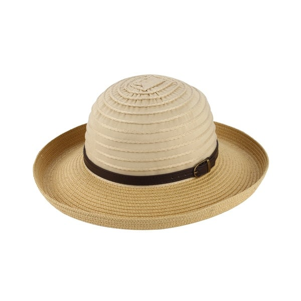 Shop Ellen - 50% Paper Straw 50% Polyester Woven Fabric Bowler Stye Sun Hat  Sun Styles - AH-034-1-BE - Free Shipping On Orders Over  45 - Overstock.com  - ... d5c3bd20cd1