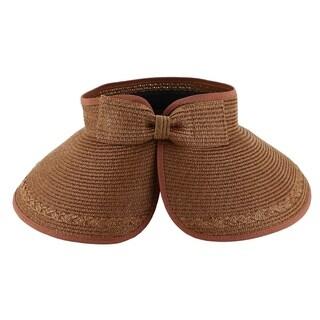 Paulina - 100% Paper Straw Sun Visor Style Sun Hat Sun Styles - AH-064-4-DBR