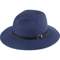 Marla - 100% Paper Straw Modern-day Fedora Style Sun Hat Sun Styles - AH-056-8-NV