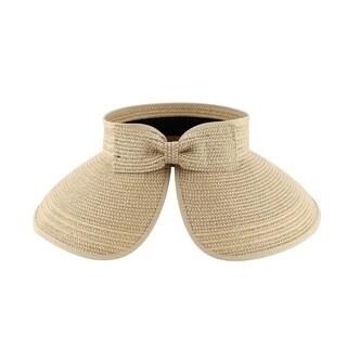 Natalie - 100% Paper Straw Sun Visor Style Sun Hat Sun Styles - AH-066-1-BE