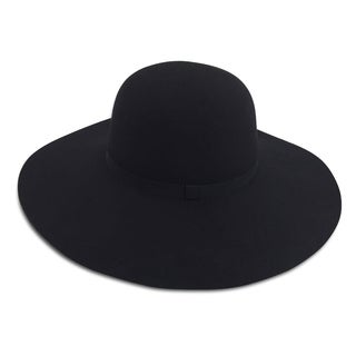 Yvette - 65% Cotton 35% Polyester Fabric Blend Round Top Wide Brim Style Felt-like Hat Alpas - FY-001-BK