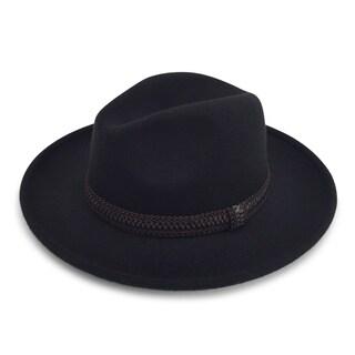 Monae - 65% Cotton 35% Polyester Fabric Blend Modern-day Stiff Brim Fedora Style Hat Alpas - FY-014-BK