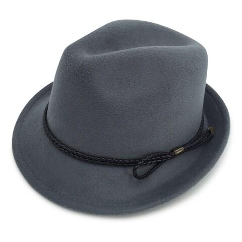 Charlette - 65% Cotton 35% Polyester Fabric Blend Trilby Fedora Style Felt-like Hat Alpas - FY-018-DGY