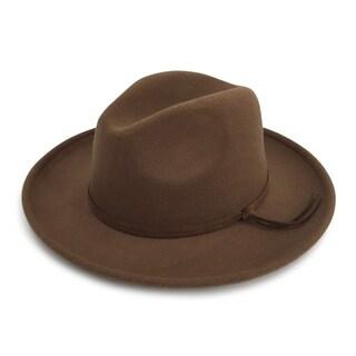 Carter - 65% Cotton 35% Polyester Fabric Blend Modern-day Stiff Brim Fedora Style Felt-like Hat Alpas - FY-015-LBR