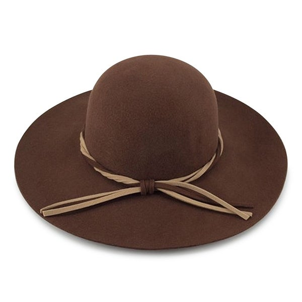 d401b472d58 Shop Evelyn - 100% Wool Felt Round Top Large Brim Style felt Hat Alpas -  MF-019-1-BR - Free Shipping On Orders Over  45 - Overstock - 20743731