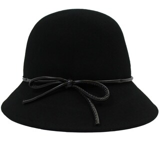 Hannah - 100% Wool Felt Cloche Style Felt Hat Alpas - YY-043-BK