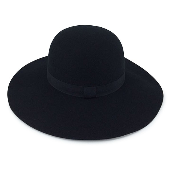 0ab1a686de7 Shop Rochelle - 100% Wool Felt Fabric Round Top Wide Brim Style Felt Hat  Alpas - YY-032-BK - Free Shipping On Orders Over  45 - Overstock - 20743749