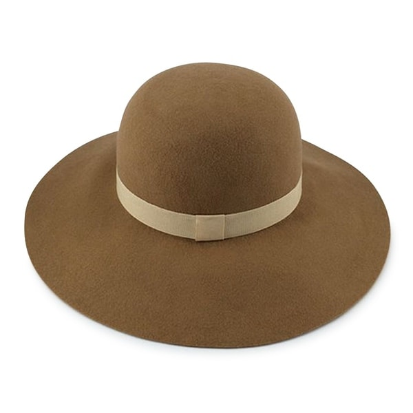 Shop Rochelle - 100% Wool Felt Fabric Round Top Wide Brim Style Felt Hat  Alpas - YY-032-CO - Free Shipping On Orders Over  45 - Overstock.com -  20743752 c2d2ac1a341