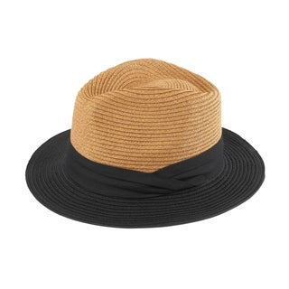 FB 2 - 100% Paper Straw Classic Flat Brim Two-Toned Fedora Style Hat