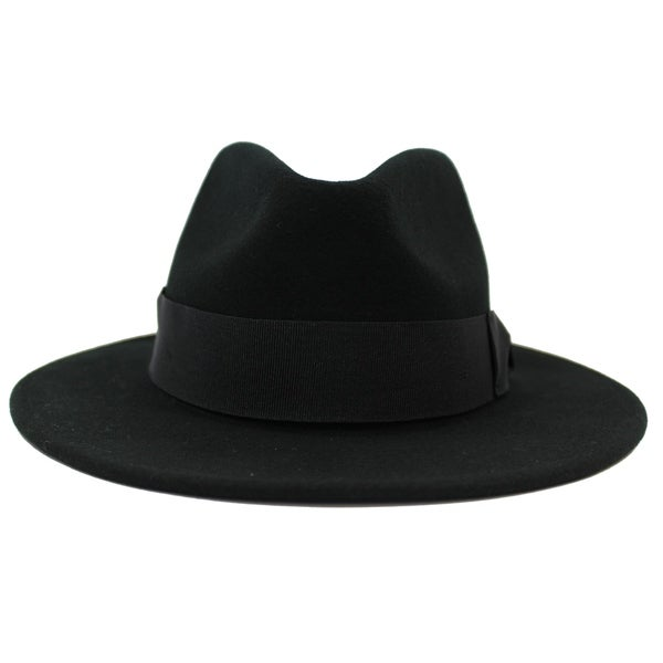 Shop Stefano - 100% Wool Felt Modern-day Stiff Brim Fedora Style Hat ... 28802a5b003