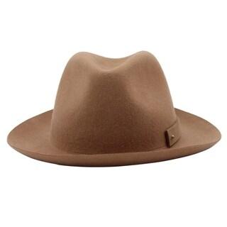Carmine - 100% Wool Felt Modern-day Soft Brim Fedora Stle Felt Hat