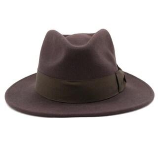 Stefano - 100% Wool Felt Modern-day Stiff Brim Fedora Style Hat