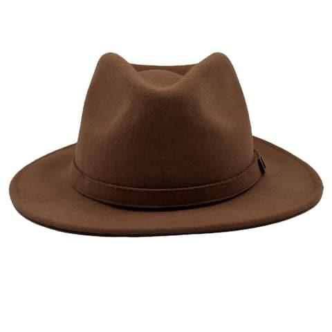d081b9500ce4f Westly - 100% Wool Felt Modern-day Stiff Brim Fedora Style Felt Hat