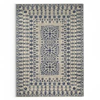 Gracewood Hollow Wright Hand-Tufted Ivory/Navy Oriental Pattern Wool Area Rug - 8' x 11'