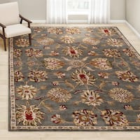 Gracewood Hollow Ellison Hand-Tufted Grey/Red Traditional Border Wool Area Rug - 9' x 12'