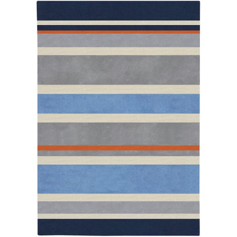 Carson Carrington Virrat Handmade Grey Stripe Area Rug - 3' x 5'
