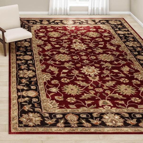 Gracewood Hollow DuBois Hand-tufted Scarlet Wool Area Rug (10' x 14')