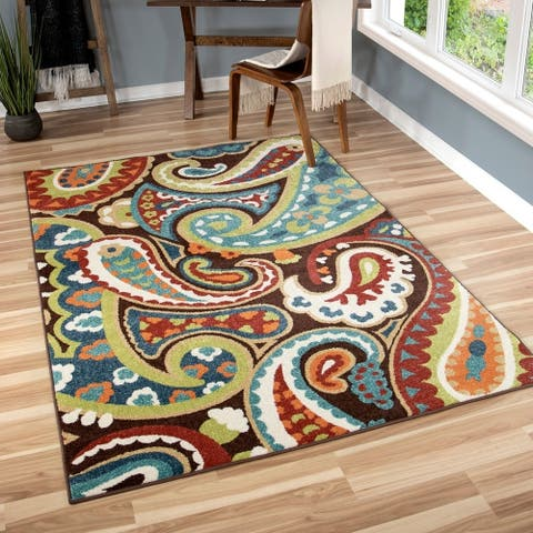 The Curated Nomad Palmas Indoor/Outdoor Paisely Rainbow Multi Rug