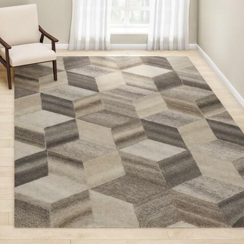 Carson Carrington Fellabaer Geometric Hand-tufted Wool Area Rug - 8' x 10' - 8' x 10'