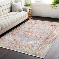 Gracewood Hollow Petry Vintage Persian Traditional Blue and Beige Area Rug (5' x 7'9)