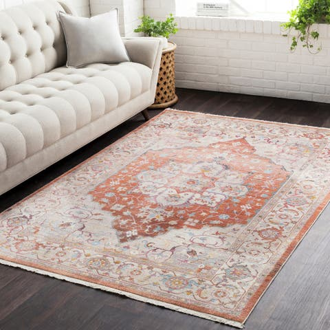 Gracewood Hollow Wideman Vintage Persian Traditional Red and Beige Area Rug - 2' x 3'
