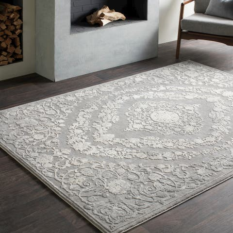 Gracewood Hollow Ishmael Floral Medallion Grey Area Rug - 2' x 3'