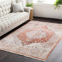 Gracewood Hollow Wideman Vintage Persian Traditional Red and Beige Area Rug (9' x 12'10)