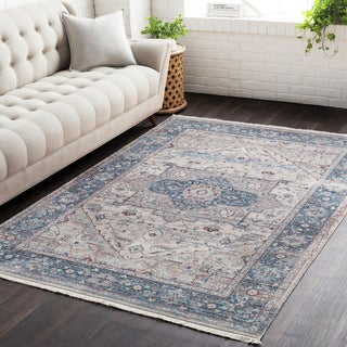 Gracewood Hollow Ann Vintage Persian Traditional Blue Area Rug - 9' x 12'10""