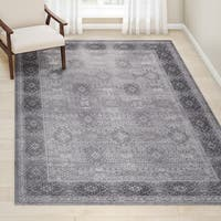 Gracewood Hollow Toni Valerie Distressed Tibetan Grey Area Rug (6'7 x 9'6)