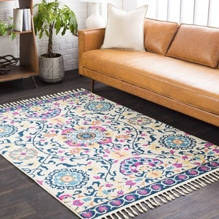 The Curated Nomad Dartmouth Navy Medallion Tassel Rug - 2' x 3'