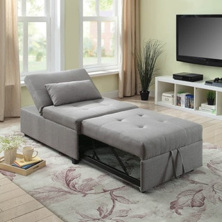Furniture of America Jave Modern Linen Fabric Convertible Ottoman