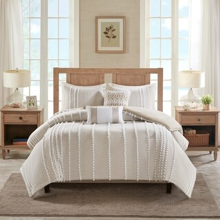 Harbor House Anslee Taupe 3 Piece Cotton Yarn Dyed Duvet Cover Set