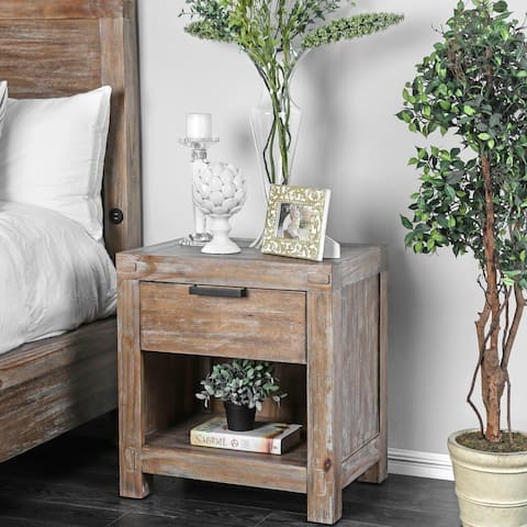 Furniture of America Werr Rustic Oak Solid Wood 1-drawer Nightstand