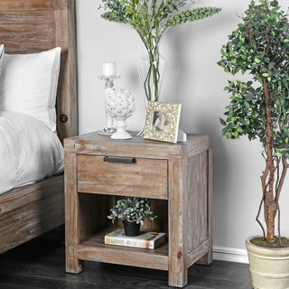 Furniture of America Delton Rustic Weathered Light Oak Nightstand