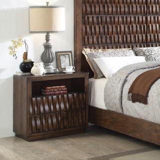 Furniture of America Koln Rustic Brown Wood 2-drawer Nightstand