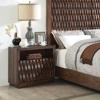 Artello Rustic Warm Chestnut Carved 2-drawer Nightstand by FOA
