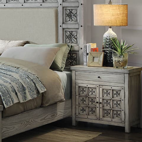 Vandalla Transitional Antique Light Grey 1-drawer Nightstand by FOA