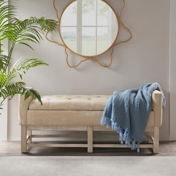 Admirable Shop Madison Park Foster Cream Storage Bench Free Shipping Uwap Interior Chair Design Uwaporg