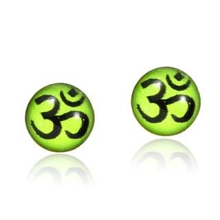 Handmade Petite & Colorful Green Aum or Om Symbol Sterling Silver Stud Earrings (Thailand)