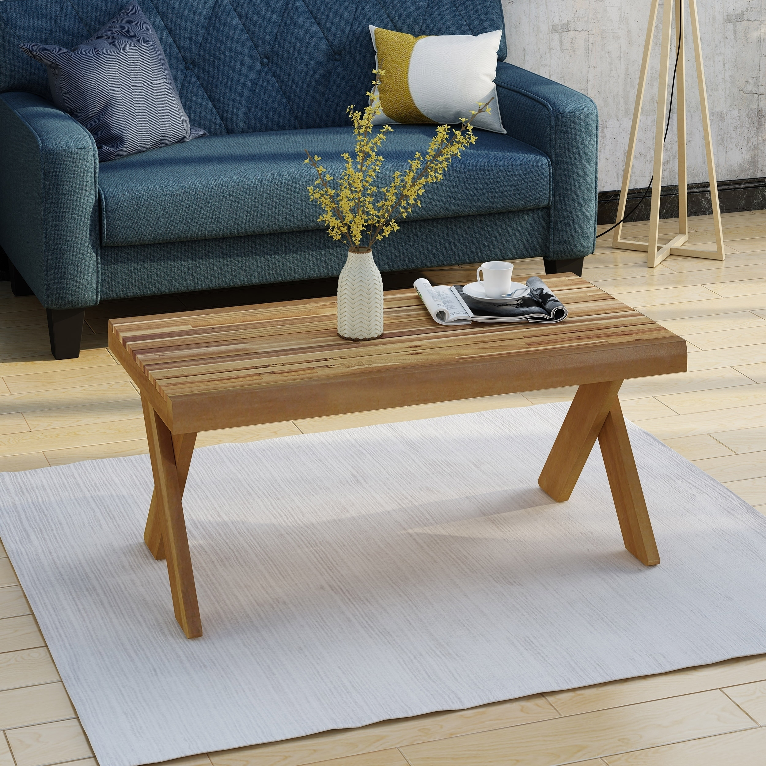 Esmeralda Farmhouse Acacia Wood Coffee Table By Christopher Knight Home Overstock 20746904