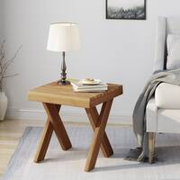 Esmeralda Farmhouse Acacia Wood Side Table by Christopher Knight Home
