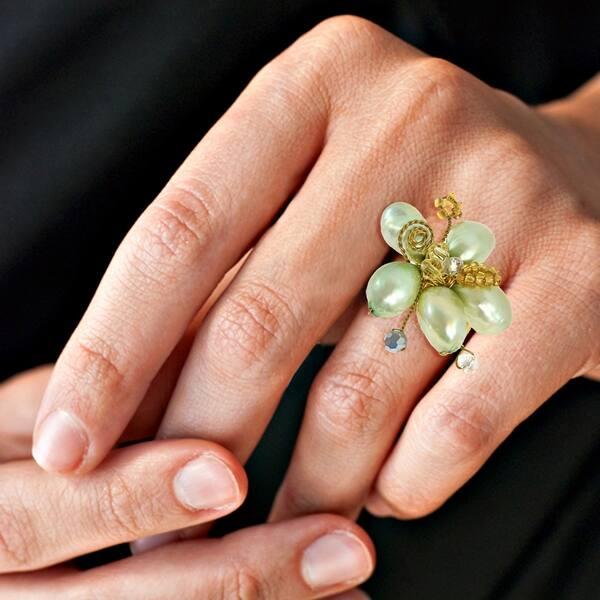 Shop Handmade Pearl Crystal Flower Adjustable Handmade Ring