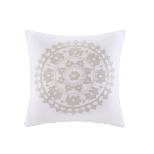 Shop Echo Design Marco White Embroidered Cotton Square Decorative Impressive Echo Decorative Pillows