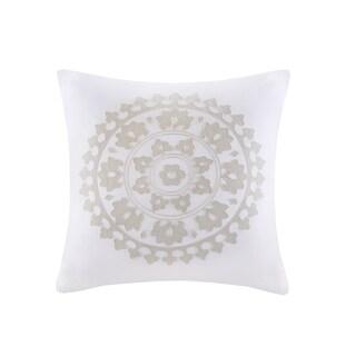 Echo Design Marco White Embroidered Cotton Square Decorative Pillow